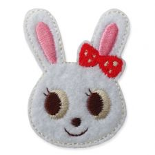 WHITE RABBIT HEAD MOTIF IRON ON EMBROIDERED PATCH APPLIQUE